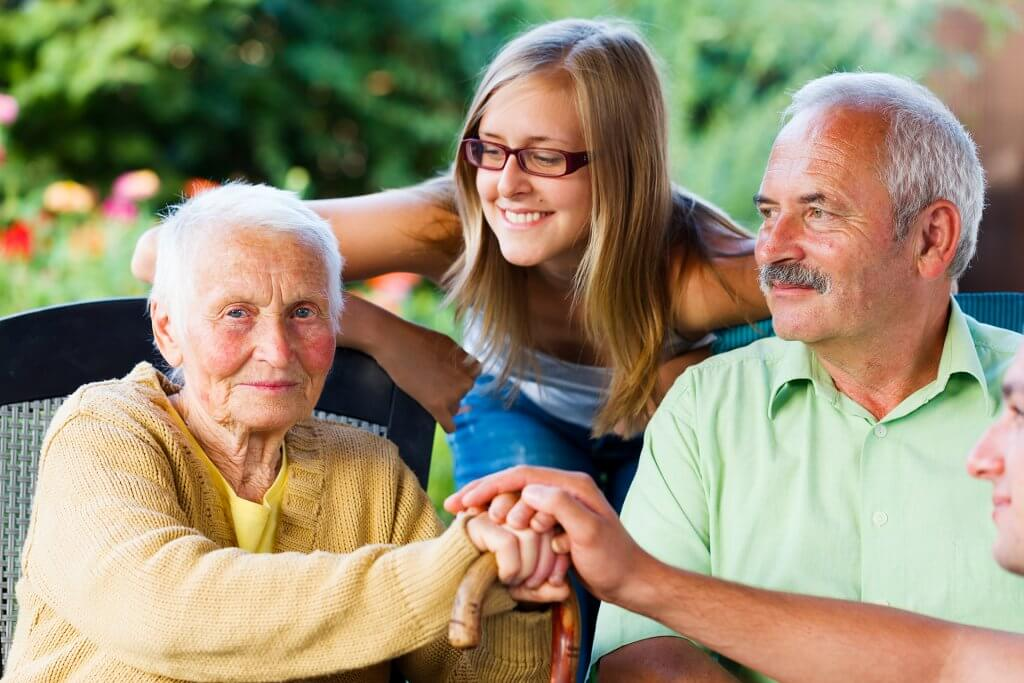 Young care giver provides long term care to her grandmother in Maryland..